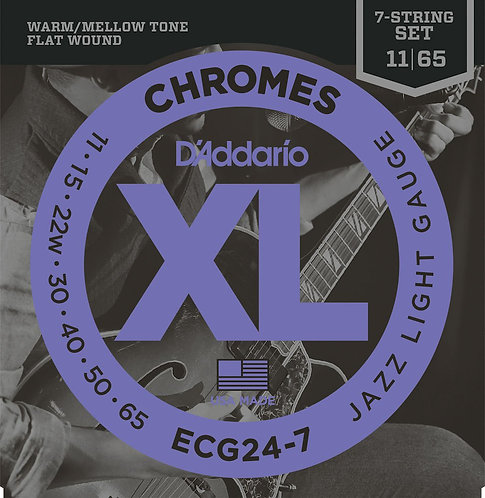 D'Addario ECG24-7 Chromes Flat Wound 7-String Electric Guitar Strings Jazz