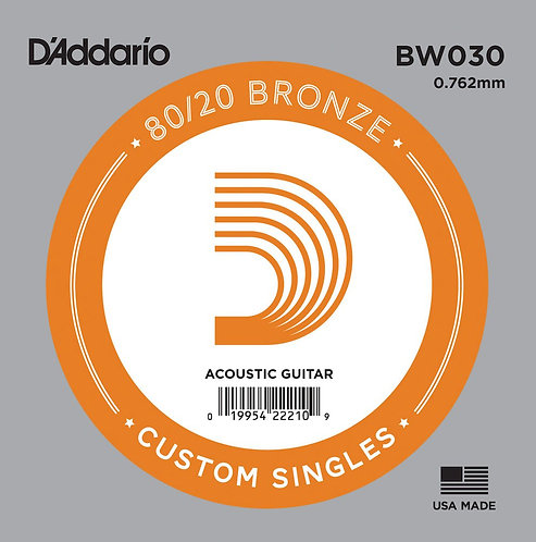 D'Addario BW030 Bronze Wound Acoustic Guitar SGL String .030