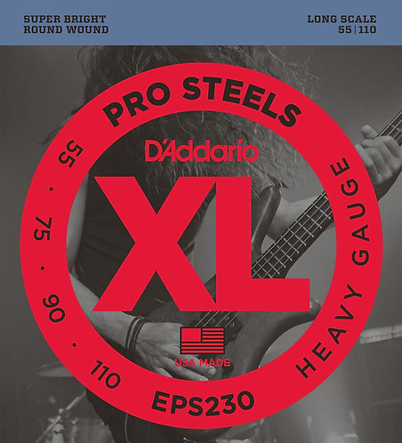 D'Addario EPS230 ProSteels Bass Guitar Strings Hvy 55-110 Long Scale