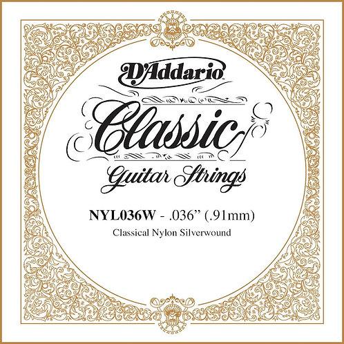 D'Addario NYL036W Silver-plated Copper Classical SGL String .036