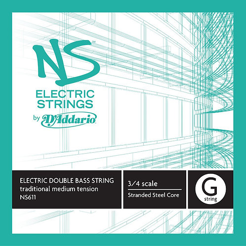 D'Addario NS Electric Traditional Bass SGL G String 3/4 Scale Med Tension