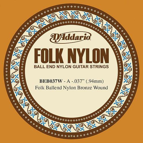 D'Addario BEB037W Folk Nylon Guitar SGL String Bronze Wound Ball End .037