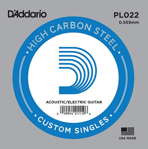 D'Addario PL022 Plain Steel Guitar SGL String .022