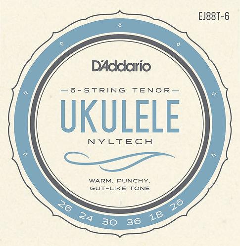 D'Addario EJ88T-6 Nyltech Ukulele Strings 6-String Tenor