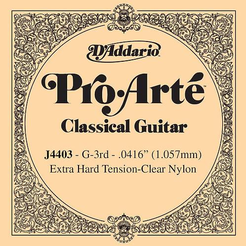 D'Addario J4403 Pro-Arte Nylon Classical Guitar SGL String X-Hard Tension Third