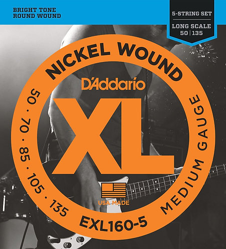 EXL160-5 5-String Nickel Wound Bass Guitar Strings Med 50-135 Long Scale