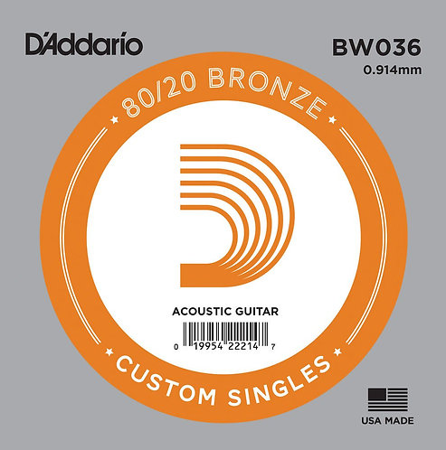D'Addario BW036 Bronze Wound Acoustic Guitar SGL String .036