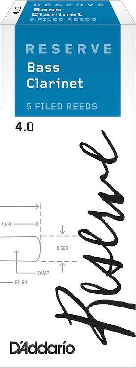 D'Addario Reserve Bass Clarinet Reeds Strength 4.0 5 Pack