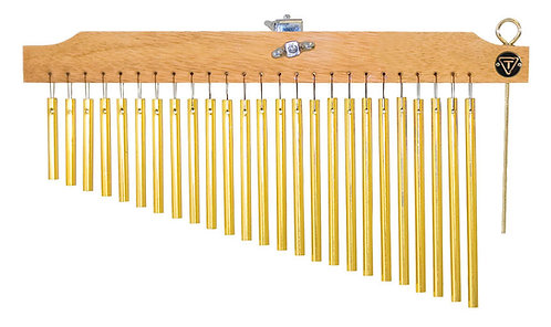 25 Gold Chimes with Natural Finish Wood Bar