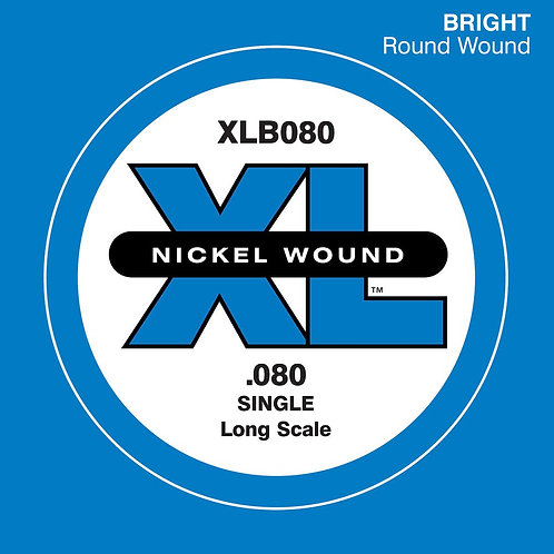 D'Addario XLB080 Nickel Wound Bass Guitar SGL String Long Scale .080