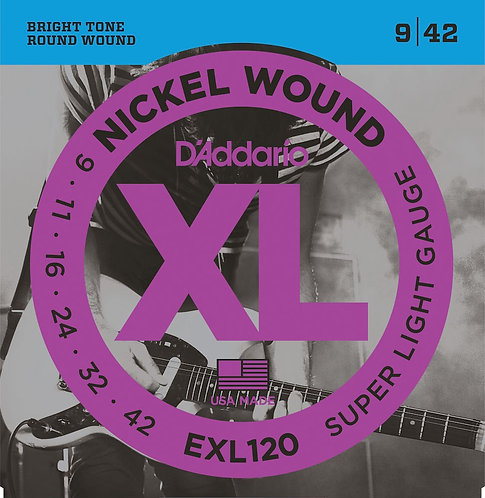 D'Addario EXL120 Nickel Wound Electric Guitar Strings Super-Light 09-42