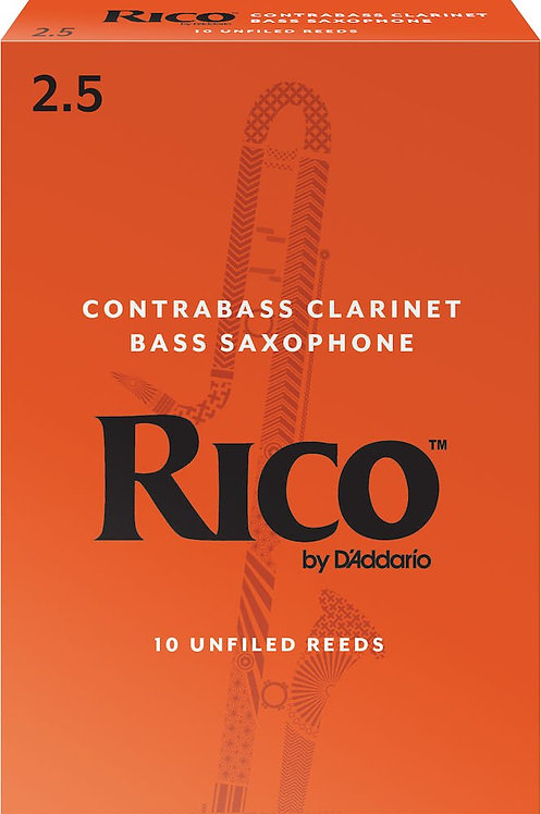 Rico by D'Addario Contra Clarinet/Bass Sax Reeds Strength 2.5 10-pack