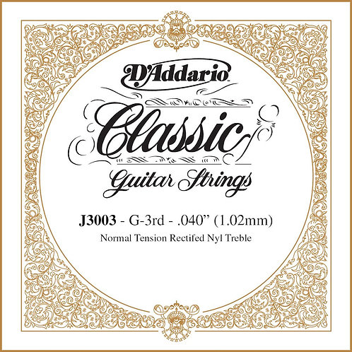 D'Addario J3003 Rectified Classical Guitar SGL String Normal Tension Third Strin