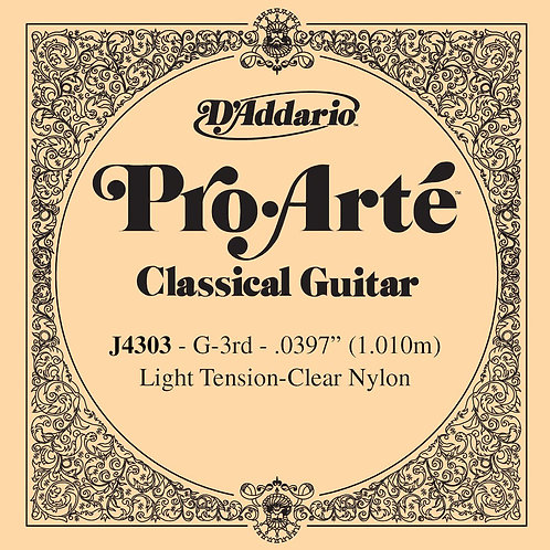 D'Addario J4303 Pro-Arte Nylon Classical Guitar SGL String Light Tension Third S