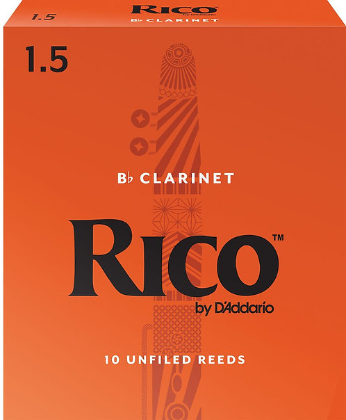 Rico by D'Addario Bb Clarinet Reeds Strength 1.5 10-pack