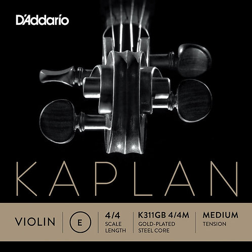 D'Addario Kaplan Gold-Plated Ball End Violin SGL E String 4/4 Scale Med Tension
