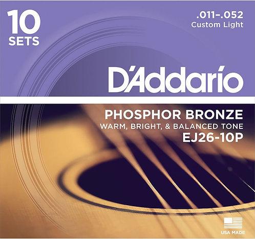 D'Addario EJ26-10P Phosphor Bronze Acoustic Guitar Strings Custom Light