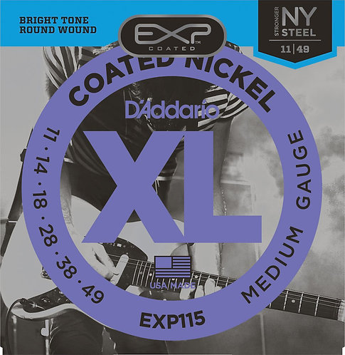 D'Addario EXP115 Coated Electric Guitar Strings Med/Blues/Jazz 11-49