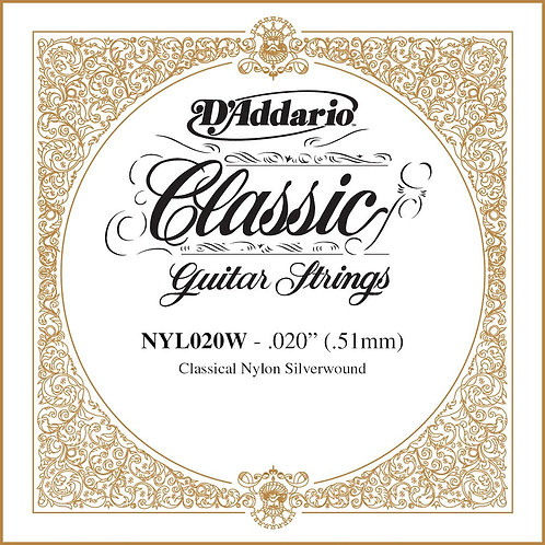 D'Addario NYL020W Silver-plated Copper Classical SGL String .020