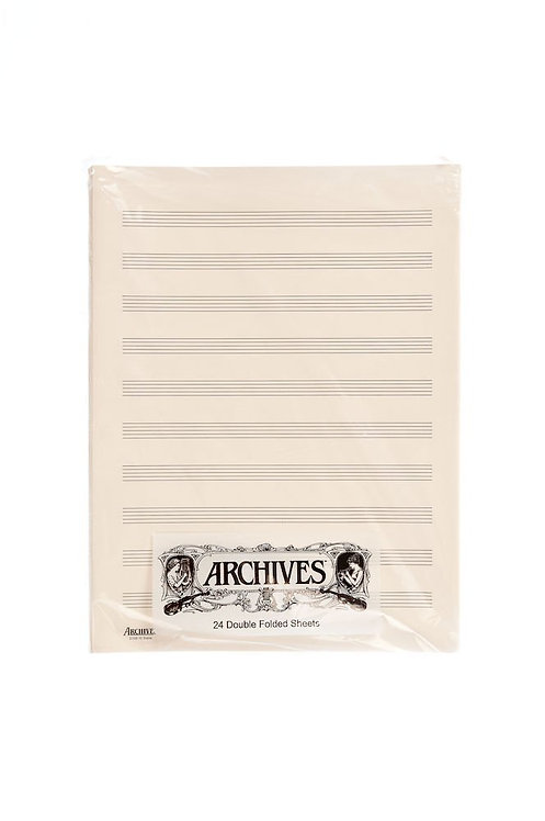 Archives Double-Folded Manuscript Paper Sheets 10 stave 24 Sheets