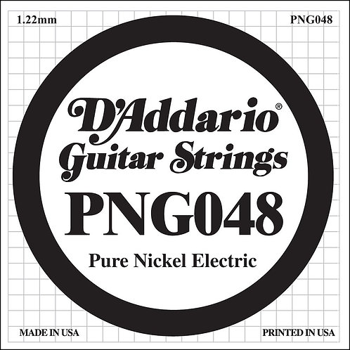 D'Addario PNG048 Pure Nickel Electric Guitar SGL String .048