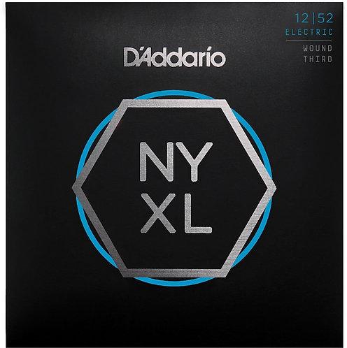 D'Addario NYXL1252W Nickel Wound Electric Guitar Strings Light Wound 3rd 12-52