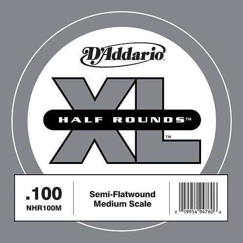 D'Addario NHR100M Half Round Bass Guitar SGL String Med Scale .100