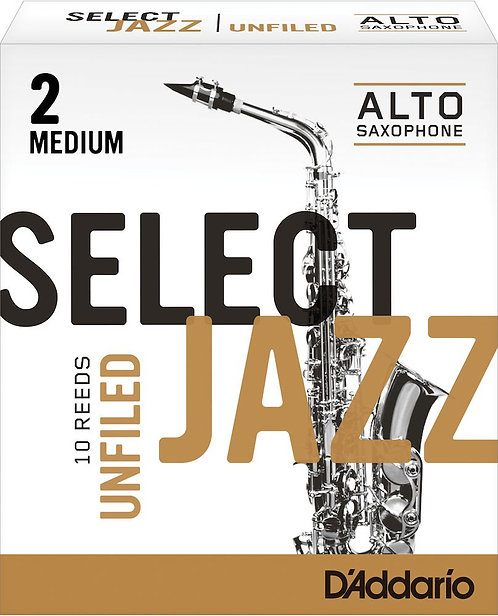 D'Addario Select Jazz Unfiled Alto Saxophone Reeds Strength 2 Med 10-pack