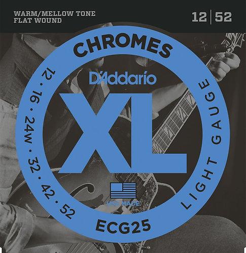 D'Addario ECG25 Chromes Flat Wound Electric Guitar Strings Light 12-52