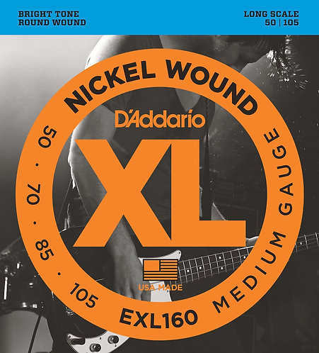 D'Addario EXL160 Nickel Wound Bass Guitar Strings Med 50-105 Long Scale