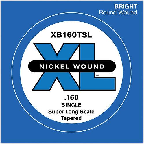D'Addario XB160TSL Nickel Wound Bass Guitar SGL String Super Long .160 Tapered