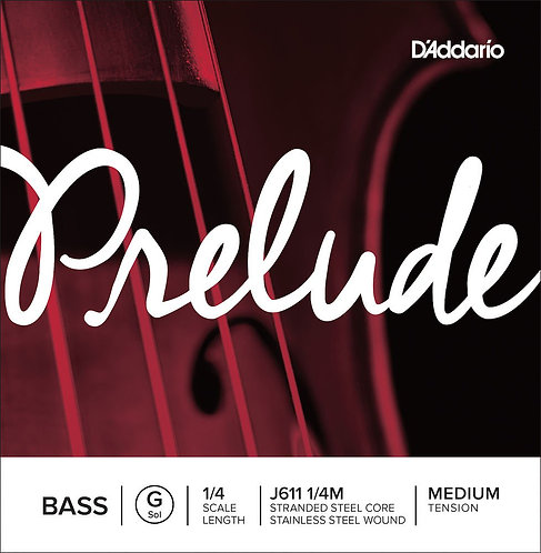 D'Addario Prelude Bass SGL G String 1/4 Scale Med Tension