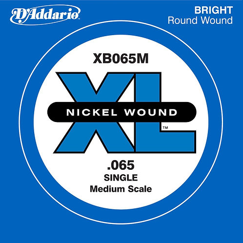 D'Addario XB065M Nickel Wound Bass Guitar SGL String Med Scale .065