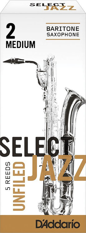 D'Addario Select Jazz Unfiled Baritone Saxophone Reeds Strength 2 Med 5-pack