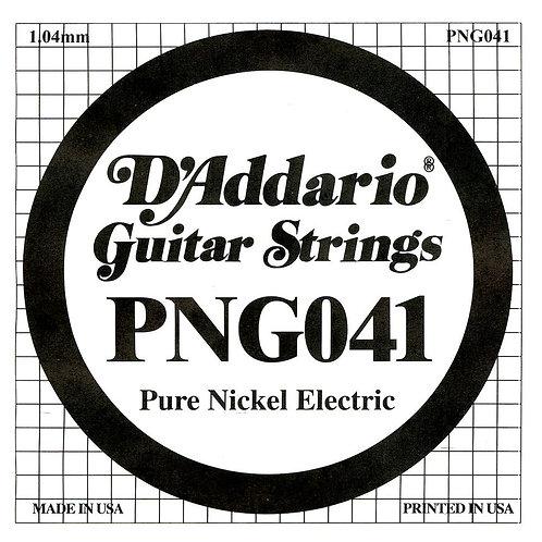 D'Addario PNG041 Pure Nickel Electric Guitar SGL String .041