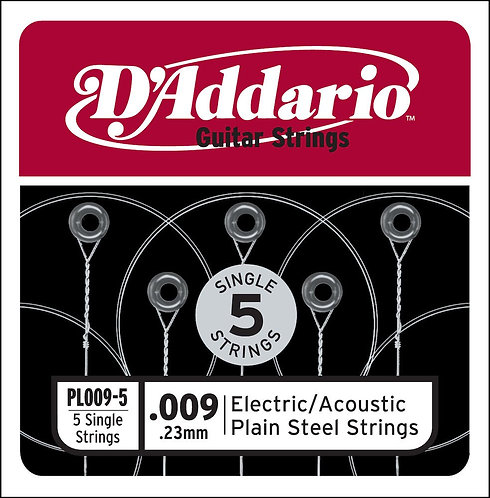 D'Addario PL009-5 Plain Steel Guitar SGL String .009 5-pack