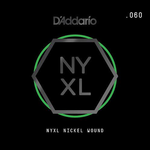D'Addario NYNW060 NYXL Nickel Wound Electric Guitar SGL String .060