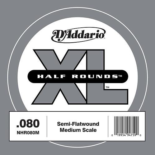 D'Addario NHR080M Half Round Bass Guitar SGL String Med Scale .080