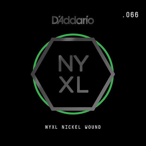 D'Addario NYNW066 NYXL Nickel Wound Electric Guitar SGL String .066