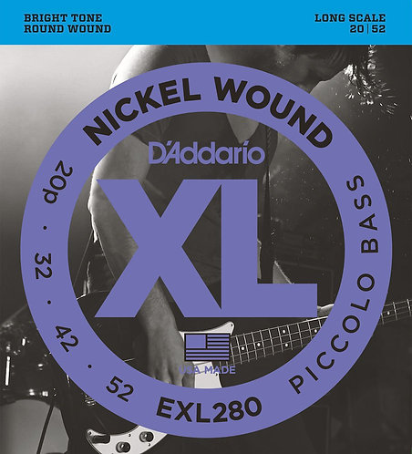D'Addario EXL280 Nickel Wound Piccolo Bass Strings 20-52 Long Scale