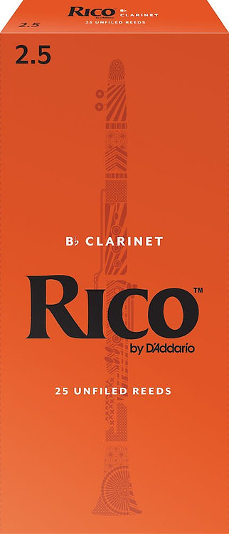 Rico by D'Addario Bb Clarinet Reeds Strength 2.5 25-pack