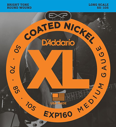 D'Addario EXP160 Coated Bass Guitar Strings Med 50-105 Long Scale