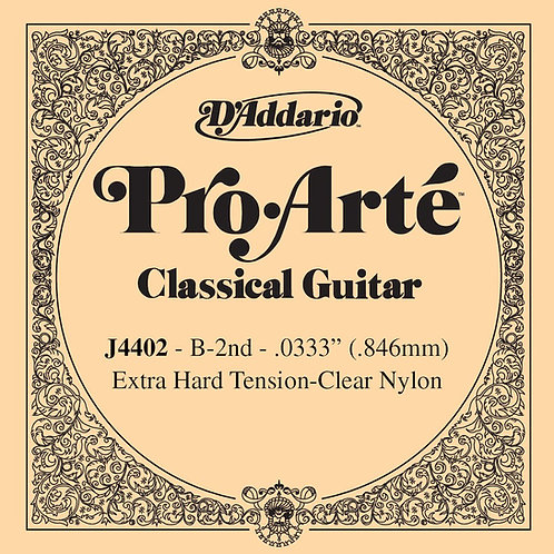 D'Addario J4402 Pro-Arte Nylon Classical Guitar SGL String X-Hard Tension Second