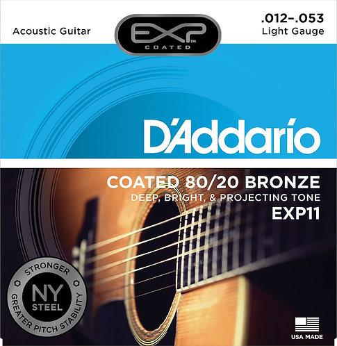 D'Addario EXP11 Coated Acoustic Guitar Strings 80/20 Light 12-53