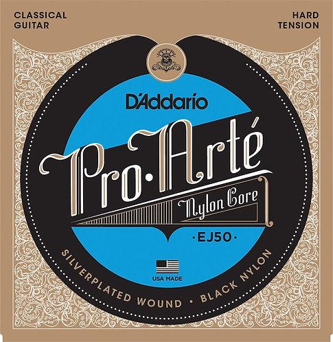 D'Addario EJ50 Pro-Arte Black Nylon Classical Guitar Strings Hard Tension