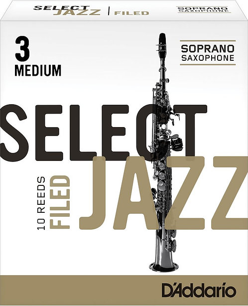 D'Addario Select Jazz Filed Soprano Saxophone Reeds Strength 3 Med 10-pack
