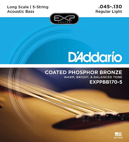 D'Addario EXPPBB170-5 Phosphor Bronze Coated 5-String Acoustic Bass Strings Long