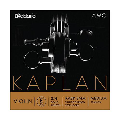 D'Addario Kaplan Amo Violin E String 3/4 Scale Med Tension