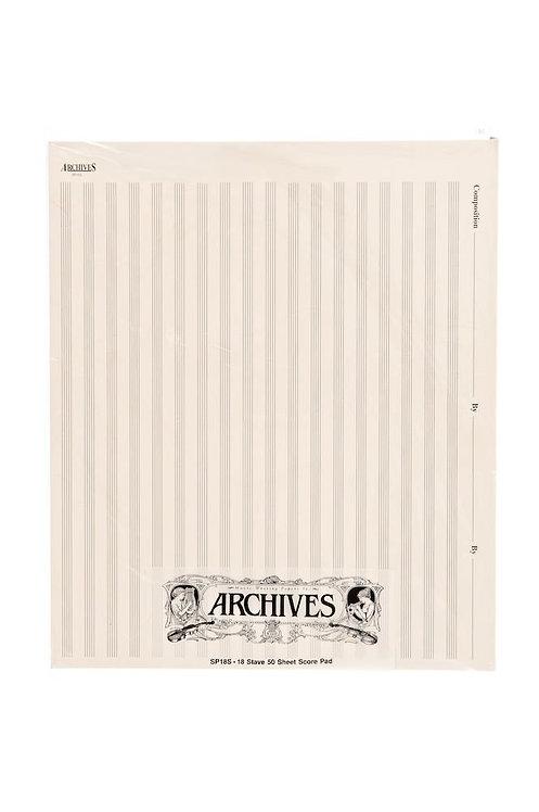 Archives Manuscript Score Pads 18 Stave 50 Sheets
