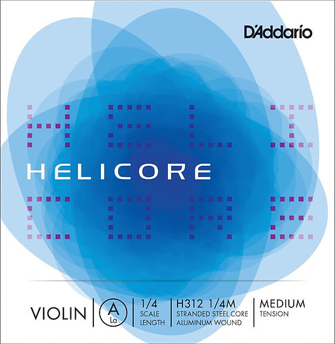D'Addario Helicore Violin SGL A String 1/4 Scale Med Tension